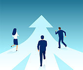 Vector of business people running from different directions towards same target.