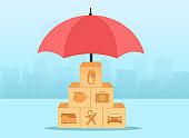 Car, home, travel, finances, health, family, life insurance concept