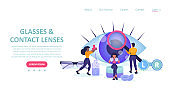 Landing page of a eyeglasses and eye care store with people choosing glasses and contact lenses.