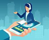 Vector of a businessman hand holding smartphone with female call center agent offering customer support