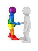 handshake on white background. Isolated 3D illustration