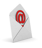 open envelope and symbol email on white background. Isolated 3D illustration