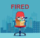 Vector of a chair with a box of personal things of a fired office employee.