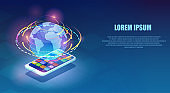 Vector of a smartphone with multiple app icons and high speed Internet with world wide web network