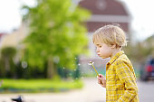Little boy blows down dandelion fluff. Making a wish. Kids's fun in the summer outdoors. Activity for inquisitive child.