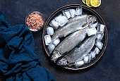 Three fresh raw trouts in ice on a vintage plate with lemons and sea salt on a dark blue background. Tasty fish ingredient for a healthy dinner