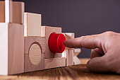 Concept of decision making process, logical thinking. Logical tasks. Conundrum, find the missing piece of the proposed.