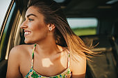Happiness of summer road trip