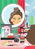 Face beauty makeup vector poster banner template