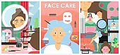 Skin care and beauty vector poster banner template set