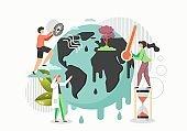 Global warming concept vector flat style design illustration