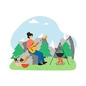 Summer bbq scene. Woman playing guitar sitting at campfire, flat vector illustration.
