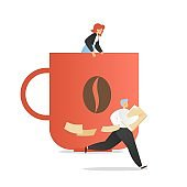 Office people daily routine, vector flat illustration