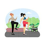 Sport and fitness activities. Two young women doing fitness exercises, flat vector illustration.