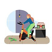 Sport and fitness activities. Girl riding stationary exercise bike flat vector illustration. Fitness gym, cardio workout