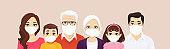 Big family portrait in protactive masks