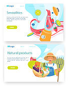 Organic food and drinks. Farmer holds basket with vegetables. Smoothie in blender. Vector web site design template. Landing page website concept illustration.