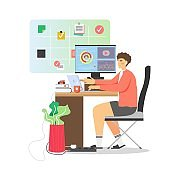 Freelancer working from home, vector flat illustration