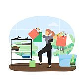 Happy girl with bunch of shopping bags in fashion boutique, flat vector illustration.