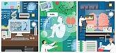 Artificial intelligence technology vector poster template set
