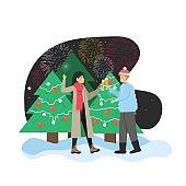 Happy couple celebrating New Year with champagne near city Christmas tree, enjoying fireworks, flat vector illustration.