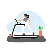 Fitness gym. Young woman running on treadmill, flat vector illustration. Sport and healthy lifestyle.