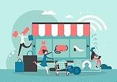 Online shopping vector flat style design illustration