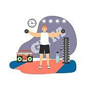 Fitness gym. Young man doing hand weight exercises with dumbbells, flat vector illustration. Sport and healthy lifestyle