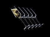 Set of luxury champagne glasses on isolated on a black background