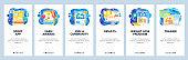 Sport mobile app, fitness community, tournament award, online trainer. Mobile app onboarding screens. Menu vector banner template for website and development. Web site design flat illustration