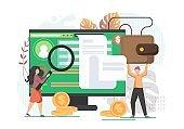 Online banking, vector flat style design illustration