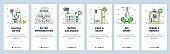 Digital detox mobile app onboarding screens, vector website banner template