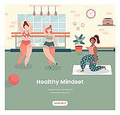 Healthy mindset vector web banner design template