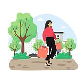 8 March, Womens Day. Happy woman spending her day off at clothing store, mall, flat vector illustration.