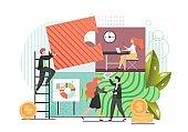 Team work, vector flat style design illustration