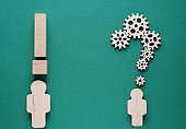 Abstract people with a question and exclamation marks. Problem and solution concept.