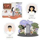 Parent child relationship, vector flat style design illustration
