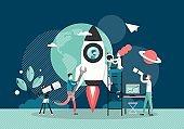 Space exploration, vector flat style design illustration