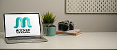 Workplace with mock up laptop, camera, notebooks, mug, plant pot and copy space