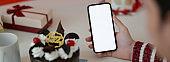Online Birthday celebration concept, female holding blank screen smartphone