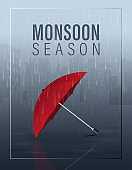 Monsoon season vector illustration with red umbrella on rain in the city at night