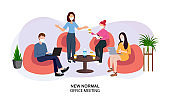 New normal vector illustration, Business office people wearing masks while meeting