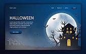 Spooky Halloween Website Design, page vector template