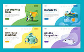 Set of web page design template for project management, startup business, business consulting, marketing. Illustration for website and mobile website development