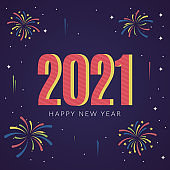 2021 happy new year background with fireworks in flat design