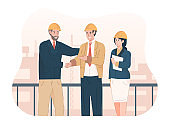 Construction project manager shaking hands after good deal project. Negotiation deal agreement concept