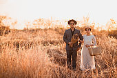 Hipster Couple in wedding day at forest