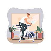 Man exercising at home