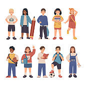 Elementary school students collection. Children back to school in flat cartoon illustration