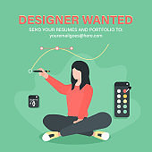 Designer wanted. Illustration of female designer with digital drawing tools